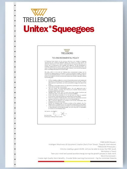 Unitex squeegee care - TCS Environmental Policy